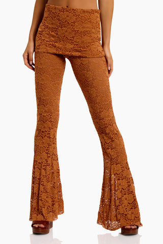 WE ARE HAH Blow Your Horn Lace Flare Pant - Brown Sugar Pants | Brown Sugar| Hot As Hell Blow Ur Horn Lace Pant - Brown SugarAll Over Lace Pants  DIY Waistband Can be Worn Folded with Skirt Detail  Flare at Bottom Front View