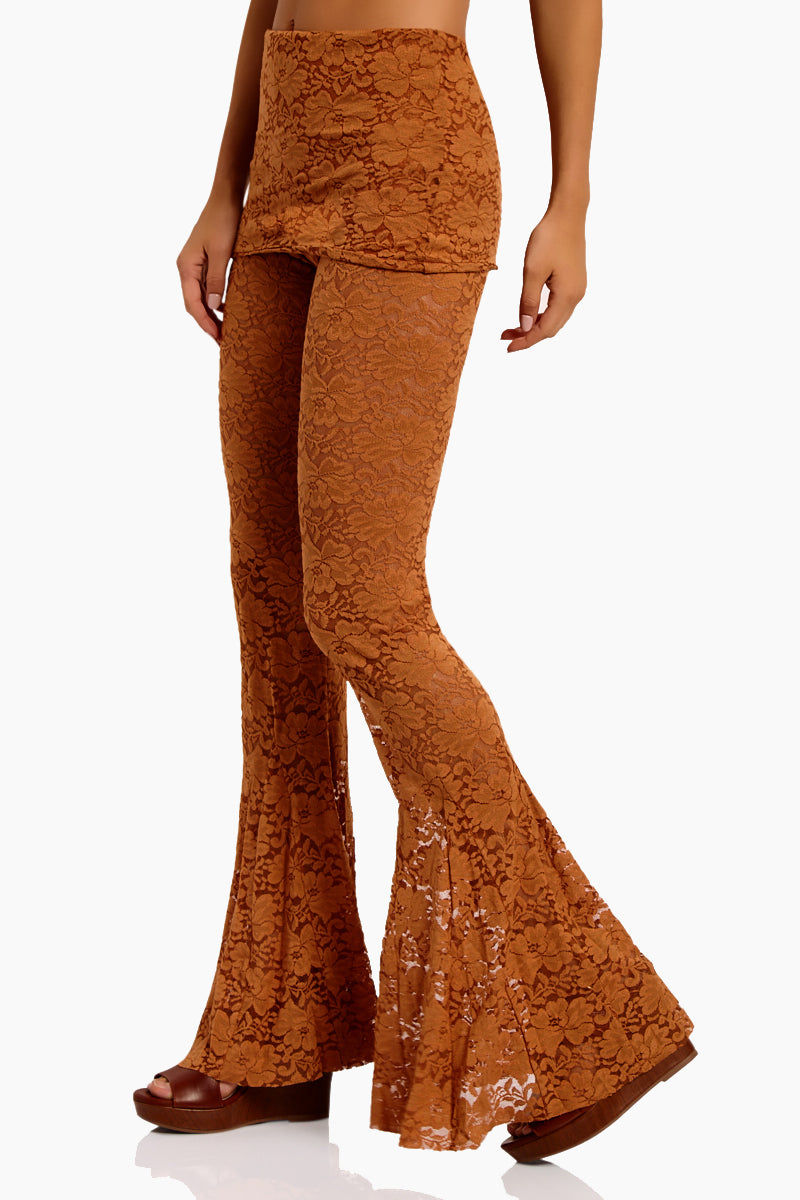 WE ARE HAH Blow Your Horn Lace Flare Pant - Brown Sugar Pants | Brown Sugar| Hot As Hell Blow Ur Horn Lace Pant - Brown SugarAll Over Lace Pants  DIY Waistband Can be Worn Folded with Skirt Detail  Flare at Bottom Side View