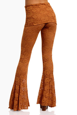 WE ARE HAH Blow Your Horn Lace Flare Pant - Brown Sugar Pants | Brown Sugar| Hot As Hell Blow Ur Horn Lace Pant - Brown SugarAll Over Lace Pants  DIY Waistband Can be Worn Folded with Skirt Detail  Flare at Bottom Back View