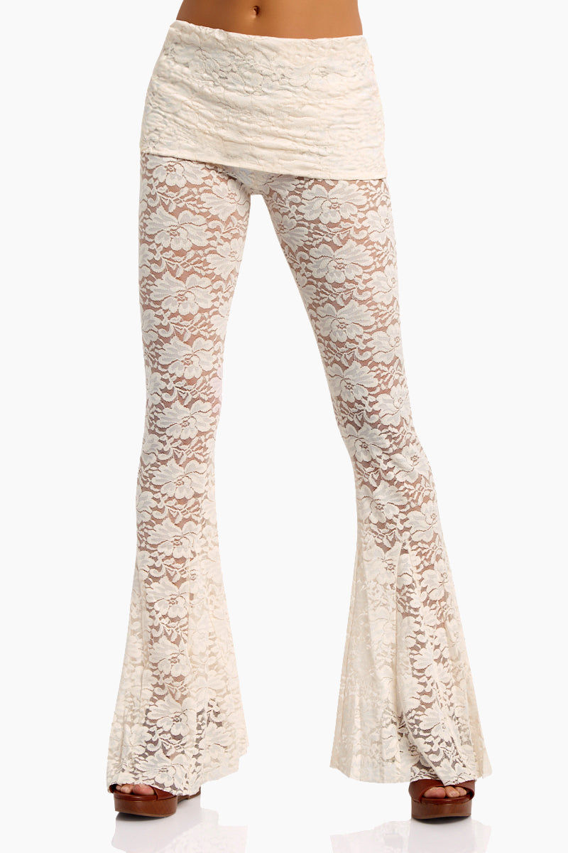 WE ARE HAH Blow Your Horn Lace Flare Pant - Walking On Eggshells Pants | Walking On Eggshells| Hot As Hell Blow Ur Horn Lace Pant - Walking On Eggshells All Over Lace Pants  DIY Waistband Can be Worn Folded with Skirt Detail  Flare at Bottom Front View
