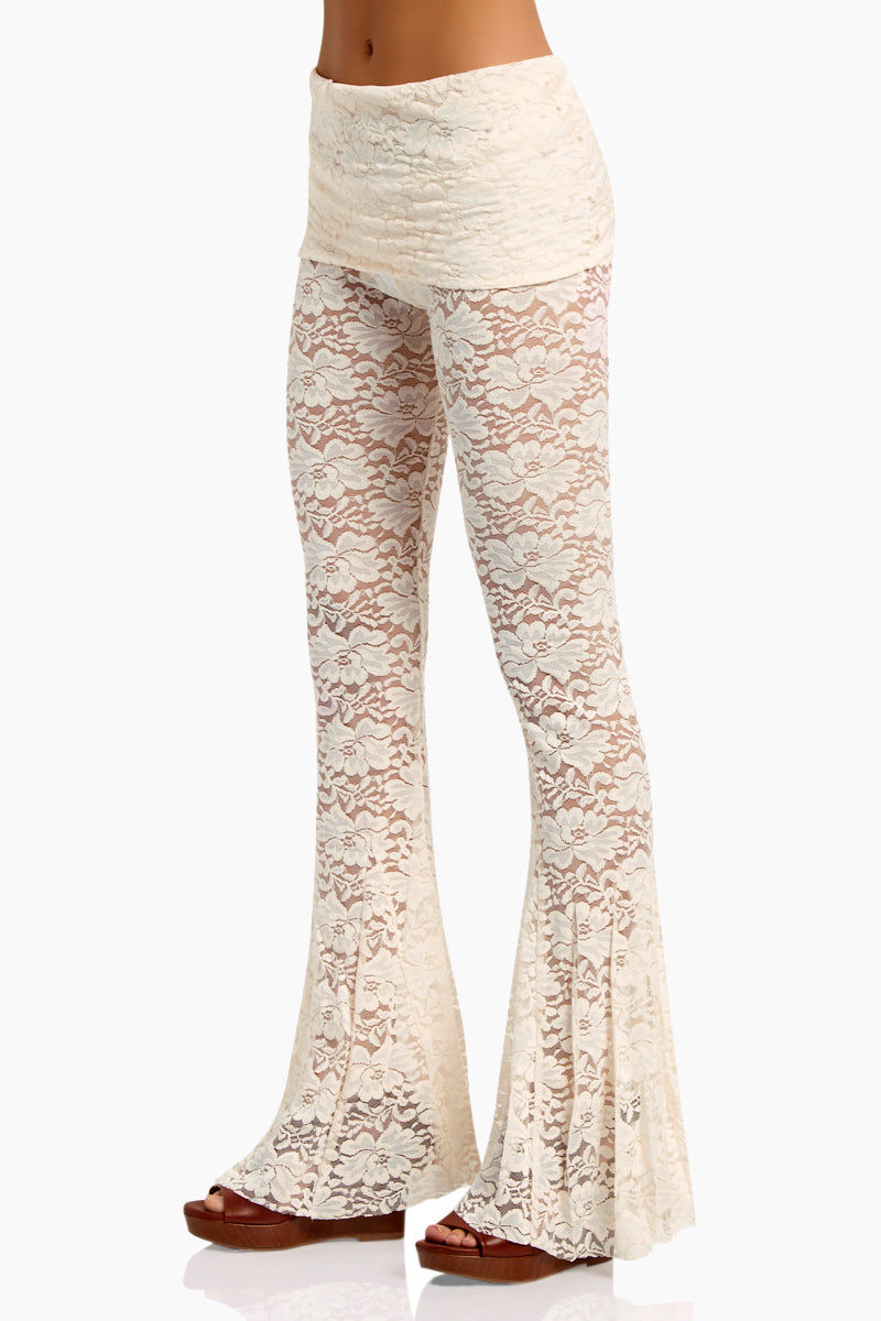 WE ARE HAH Blow Your Horn Lace Flare Pant - Walking On Eggshells Pants | Walking On Eggshells| Hot As Hell Blow Ur Horn Lace Pant - Walking On Eggshells All Over Lace Pants  DIY Waistband Can be Worn Folded with Skirt Detail  Flare at Bottom Side View