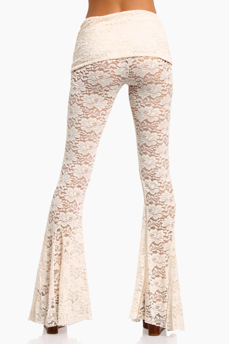 WE ARE HAH Blow Your Horn Lace Flare Pant - Walking On Eggshells Pants | Walking On Eggshells| Hot As Hell Blow Ur Horn Lace Pant - Walking On Eggshells All Over Lace Pants  DIY Waistband Can be Worn Folded with Skirt Detail  Flare at Bottom Back View