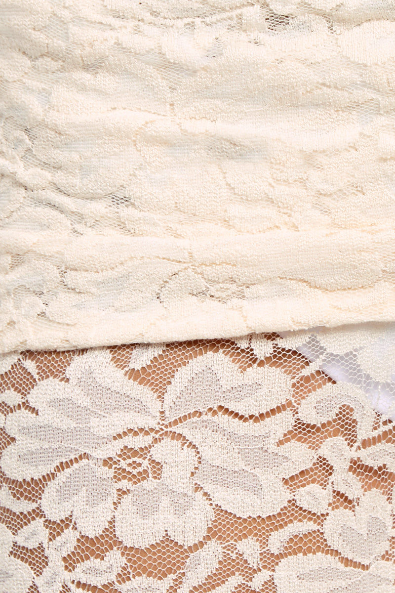 WE ARE HAH Blow Your Horn Lace Flare Pant - Walking On Eggshells Pants | Walking On Eggshells| Hot As Hell Blow Ur Horn Lace Pant - Walking On Eggshells All Over Lace Pants  DIY Waistband Can be Worn Folded with Skirt Detail  Flare at Bottom Close Up View