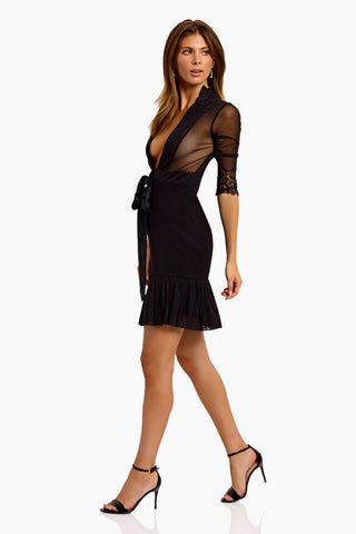 WE ARE HAH Multi-Way Bow Down Mini Dress - Noir Dress | Noir| Hot As Hell Reversible Bow Down Dress - Noir Features:   Mini Dress Can Be Worn Front or Back 3/4 Sleeves Satin Sash Cinches at the Waist Fully Lined Skirt Side View