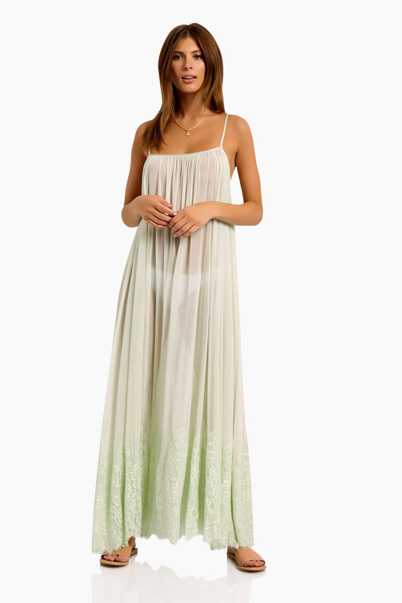 WE ARE HAH Mad Maxi Sheer Mesh Dress - Slightly Jaded Dress | Slightly Jaded| Hot As Hell Mad Maxi Dress - Slightly Jaded Sheer Maxi Dress Straight Neckline Spaghetti Straps Lace End Detail  Easy Transition From Beach to Street Front View