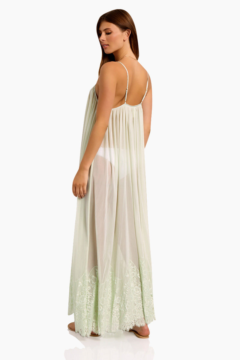 WE ARE HAH Mad Maxi Sheer Mesh Dress - Slightly Jaded Dress | Slightly Jaded| Hot As Hell Mad Maxi Dress - Slightly Jaded Sheer Maxi Dress Straight Neckline Spaghetti Straps Lace End Detail  Easy Transition From Beach to Street Back View