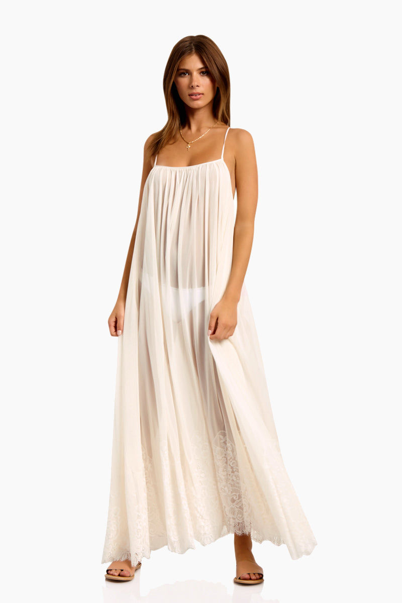 WE ARE HAH Mad Maxi Sheer Mesh Dress - Walking On Eggshells Dress   Walking On Eggshells  Hot As Hell Mad Maxi Dress - Walking On Eggshells Sheer Maxi Dress Straight Neckline Spaghetti Straps Lace End Detail  Easy Transition From Beach to Street Front View