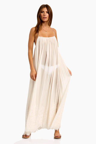 WE ARE HAH Mad Maxi Sheer Mesh Dress - Walking On Eggshells Dress |  Walking On Eggshells| Hot As Hell Mad Maxi Dress - Walking On Eggshells Sheer Maxi Dress Straight Neckline Spaghetti Straps Lace End Detail  Easy Transition From Beach to Street Side View