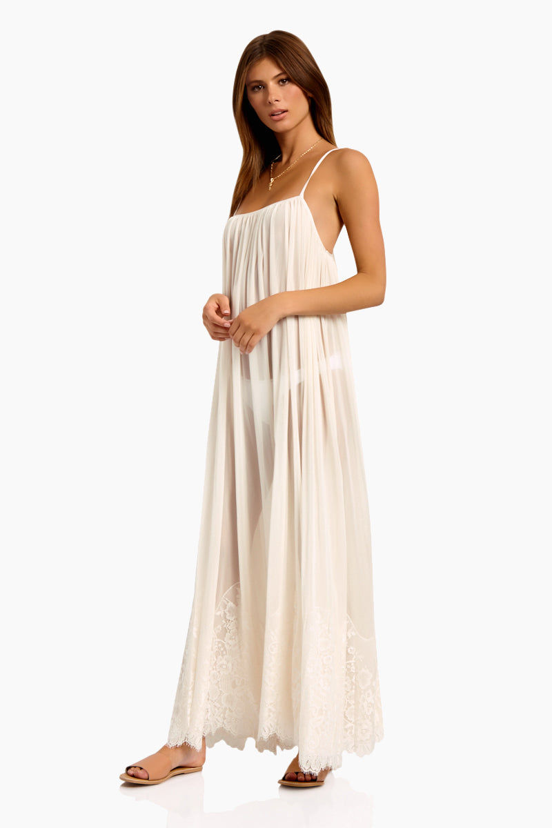 WE ARE HAH Mad Maxi Sheer Mesh Dress - Walking On Eggshells Dress   Walking On Eggshells  Hot As Hell Mad Maxi Dress - Walking On Eggshells Sheer Maxi Dress Straight Neckline Spaghetti Straps Lace End Detail  Easy Transition From Beach to Street Side View