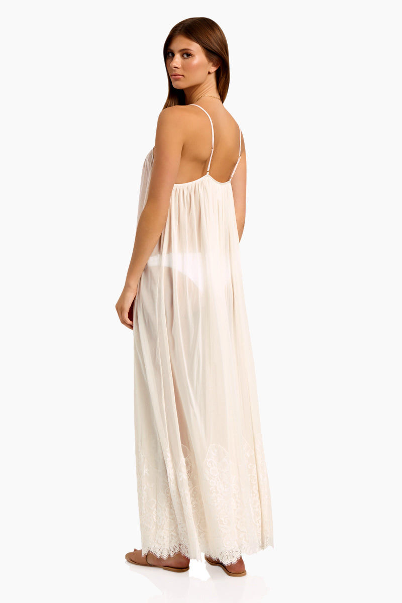 WE ARE HAH Mad Maxi Sheer Mesh Dress - Walking On Eggshells Dress   Walking On Eggshells  Hot As Hell Mad Maxi Dress - Walking On Eggshells Sheer Maxi Dress Straight Neckline Spaghetti Straps Lace End Detail  Easy Transition From Beach to Street Back View