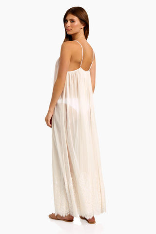 WE ARE HAH Mad Maxi Sheer Mesh Dress - Walking On Eggshells Dress | Walking On Eggshells| Hot As Hell Mad Maxi Dress - Walking On Eggshells Sheer Maxi Dress Straight Neckline Spaghetti Straps Lace End Detail  Easy Transition From Beach to Street Back View