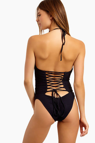 BLUE LIFE Magnolia Lace Up Back One Piece Swimsuit - Black One Piece | Black| Blue life Magnolia Lace Up Back One Piece Swimsuit - Black. Features:  Lace embroidery accents Plunging neckline Adjustable criss cross straps Open back 72% Polyamide 28% Elastane Made in USA Back View