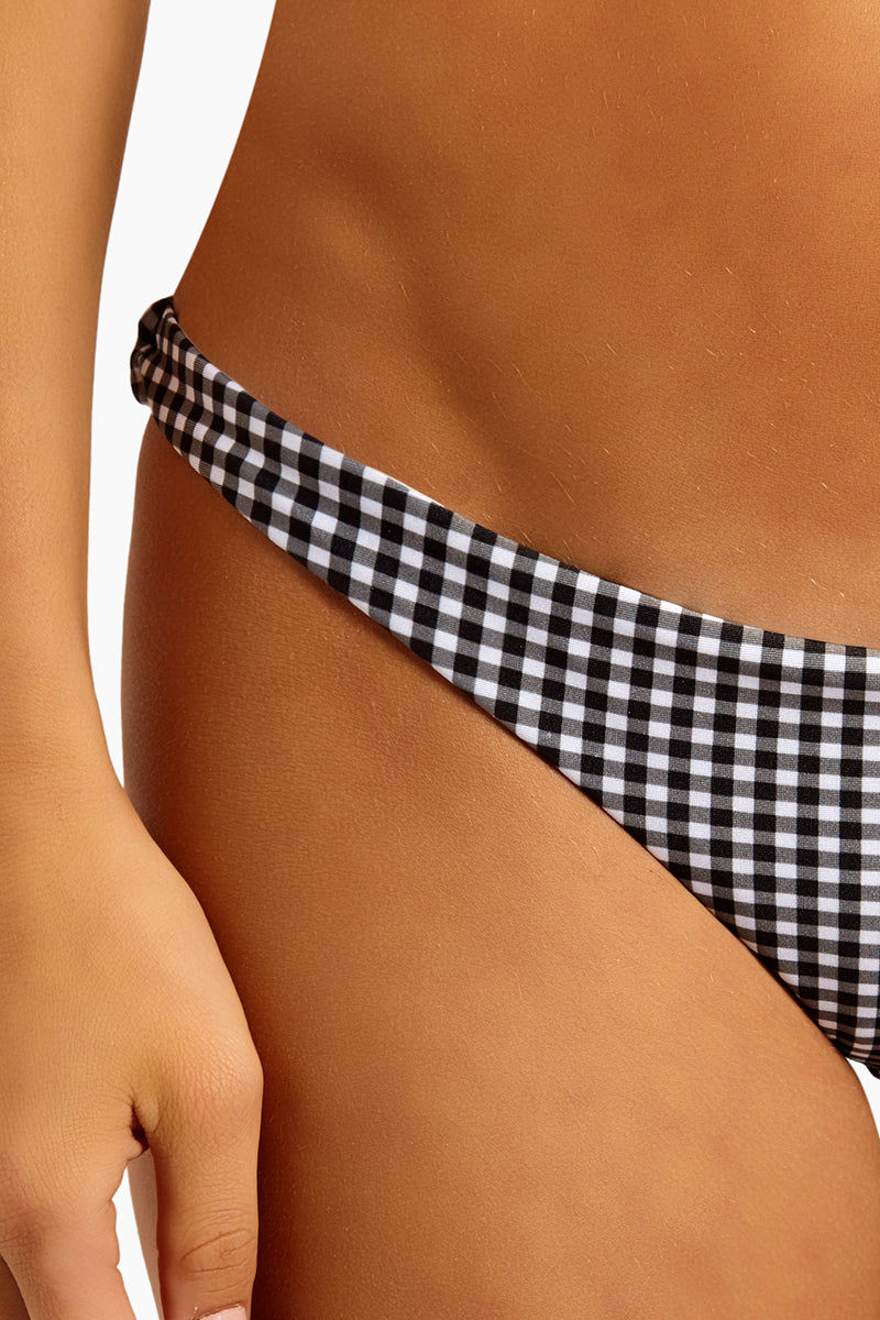 """CHLOE ROSE Forget Me Not Cheeky Bikini Bottom - Black/White Gingham Bikini Bottom 