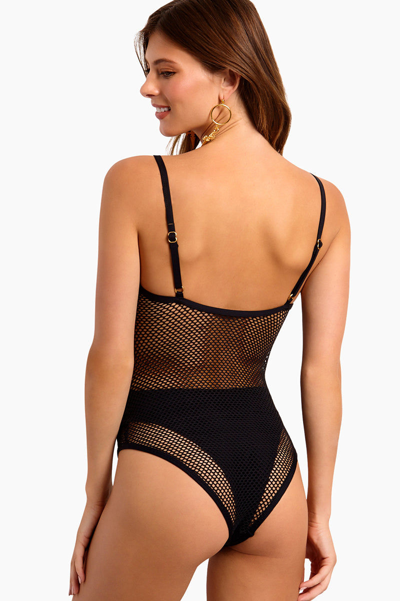 L SPACE Mesh Madness One Piece Swimsuit - Black One Piece | Black|L Space Mesh Madness One Piece Swimsuit - Features:  Mesh overlay one piece Attaches to undersuit at side bust and hip points Adjustable straps Pull-on style Bitsy coverage Back View