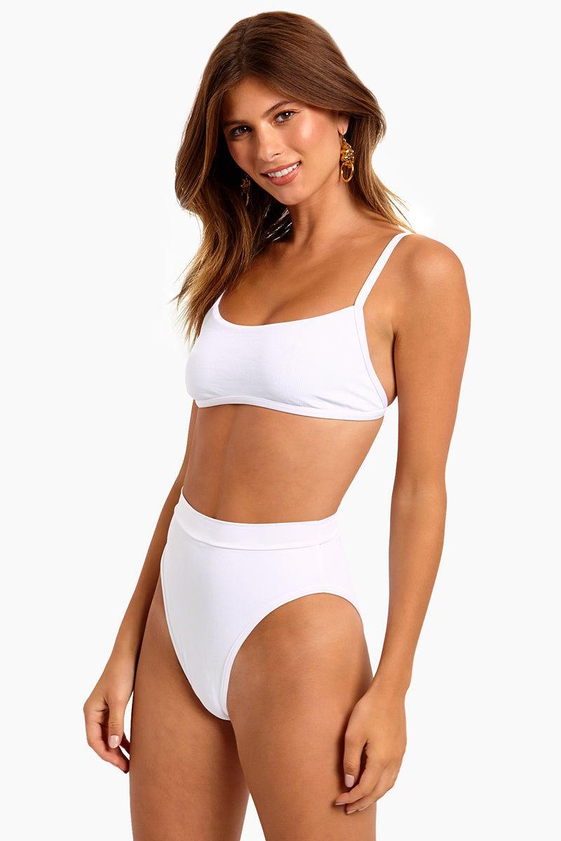 L SPACE Gemma Bralette Bikini Top - White Bikini Top | White| L Space Gemma Bralette Bikini Top - White Sporty Bralette Ribbed Fabric  Scoop Neckline Adjustable Shoulder Straps S Hook Closure Side View