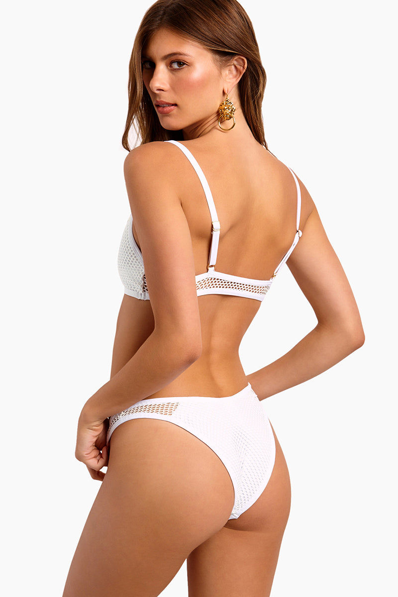 L SPACE Stevie Mesh Cheeky Bikini Bottom - White Bikini Bottom | White|L SPACE Stevie Mesh Cheeky Bikini Bottom - White.  Features:  High-cut leg Mesh overlay throughout Cheeky coverage Side cut out with mesh overlay Low rise Back View