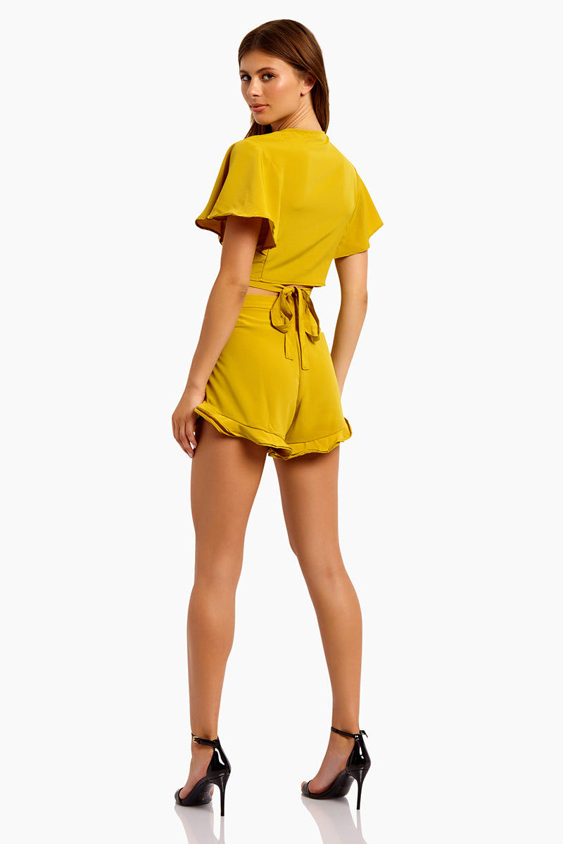 MOTEL Gios V Neck Crop Top - Mustard Top | Mustard| Motel Gios V Neck Crop Top:  Features:  V Neckline Wrap style Tie up detail  Floaty short sleeves Cropped length in mustard yellow Back View