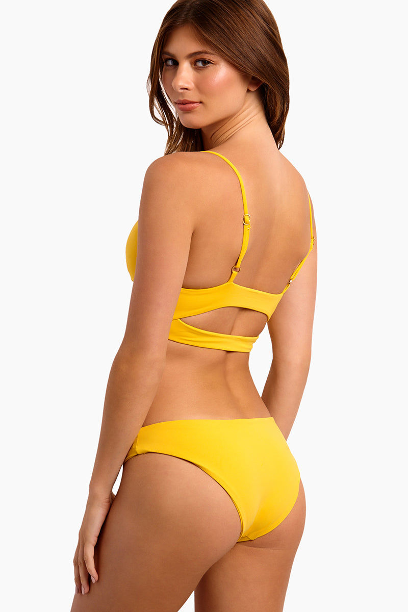 L SPACE Olivia Bralette Bikini Top - Sunshine Gold Bikini Top | Sunshine Gold| L Space Olivia Bralette Bikini Top - Sunshine Gold Pull-over bralette-style top V-neckline Banding underneath bustline Adjustable over-the-shoulder straps Cut-out back detailing Removable pads Fabric Content: 80% nylon, 20% spandex Back View