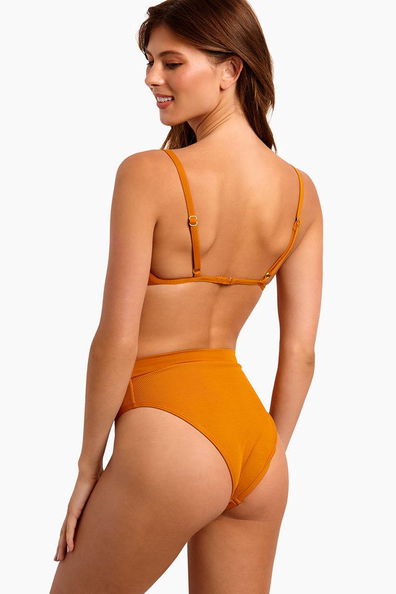 L SPACE Frenchi High Waist Bikini Bottom - Inka Gold Bikini Bottom | Inka Gold| L Space Frenchi High Waist Bikini Bottom - Inka Gold High Waist Thick Waistband High Cut Ribbed Fabric Cheeky Coverage Back View
