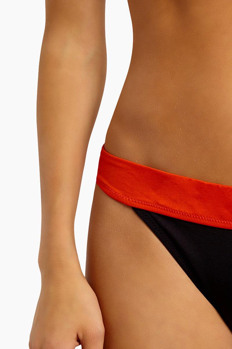NESSI BYRD Erica Color Blocked Moderate Bikini Bottom - Multi Bikini Bottom | Multi| Nessi Byrd Erica Color Block Bikini Bottom - Multi Features:   Thick Waistband  High Cut Leg Moderate Coverage close up View