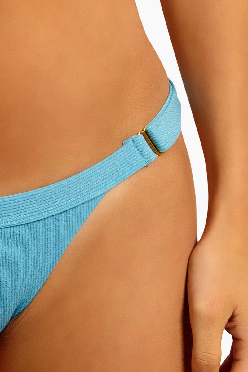 BEACH BUNNY Rib Tide Skimpy Bottom - Dusty Blue Bikini Bottom | Dusty Blue | Beach Bunny Rib Tide Skimpy Bottom - Dusty Blue