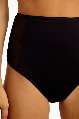 NESSI BYRD Dim Tulle High Waisted Side Detail Bikini Bottom - Black Bikini Bottom | Black| Nessi Byrd Dim Mesh High Waisted Bikini Bottom - Black Features:  High waist bikini bottom Tulle details on the side Italian fabric full coverage Close up View
