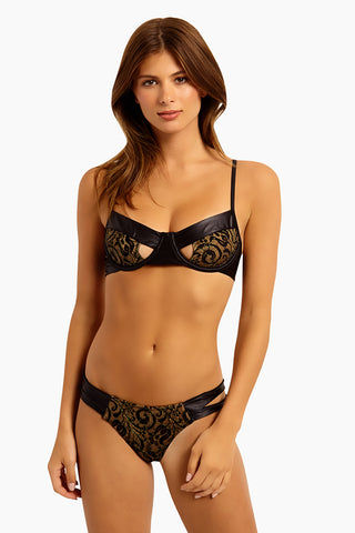 BEACH BUNNY Harper Underwire Bikini Top - Black Lace Bikini Top | Black Lace| Beach Bunny Harper Underwire Bikini Top - Black Lace  Triangle top Underwire Front cut out detail Adjustable straps