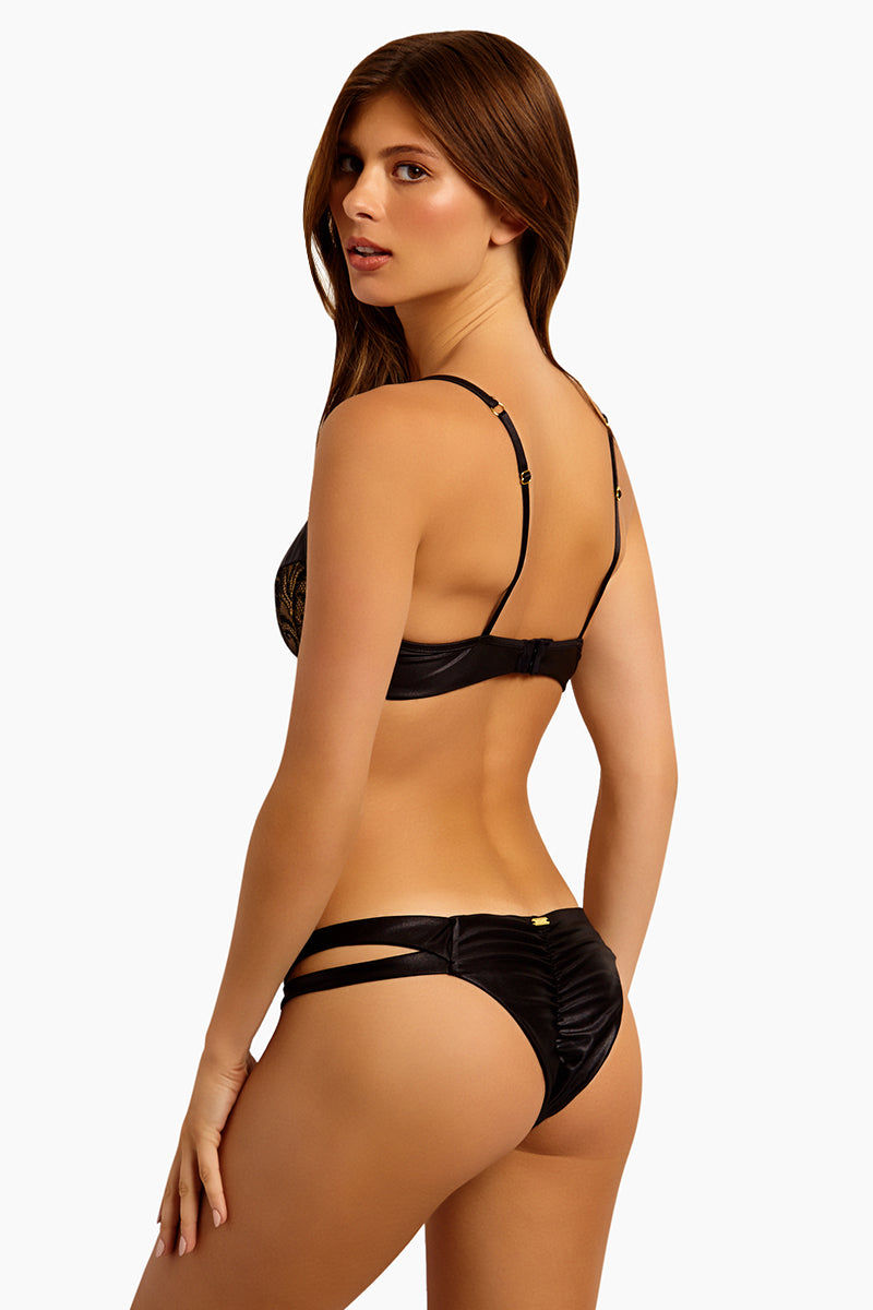 BEACH BUNNY Harper Lace Cut Out Bikini Bottom  - Black Bikini Bottom | Black| Beach Bunny Harper Lace Cut Out Bikini Bottom - Black Low-rise  Lace detail Side cut outs  Ruching in back  Brazilian coverage Back View