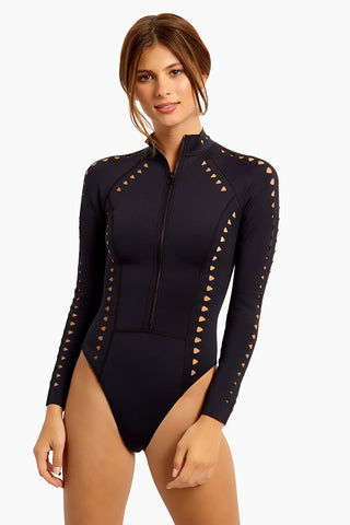 GIGI C Riley Cut Out Surfsuit Swimsuit - Black One Piece | Black| GIGI C Riley Cut Out Surfsuit Swimsuit - Black. Features: Model is wearing size small Silky, thin scuba Flat lock seaming hugs your curves and creates a silky smooth interior Centerfront locking zipper Cutout design featuring lasercut technology eliminates rough edges and ensures ultimate comfort Medium cheek coverage 84% Polyester 16% Spandex