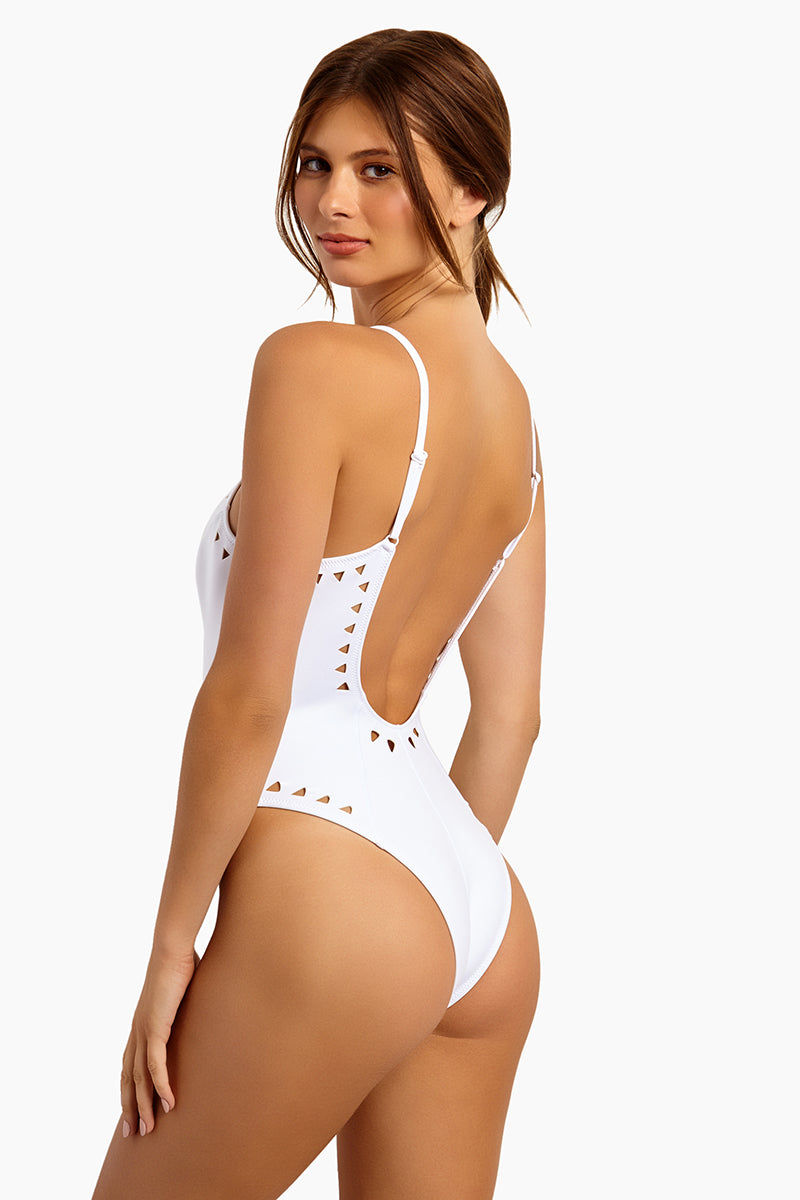 GIGI C Alexandra Cut Out One Piece Swimsuit - White One Piece | White| GIG C Alexandra One Piece Swimsuit - White. Blue| GIG C Alexandra Cut Out One Piece Swimsuit - Blue. FEATURES: Model is wearing size small Silky, thin scuba Flat lock seaming hugs your curves and creates a silky smooth interior, ensuring ultimate comfort Centerfront locking zipper Adjustable straps Cutout design featuring lasercut technology for bold graphic shapes Medium to minimal cheek coverage 84% Polyester 16% Spandex