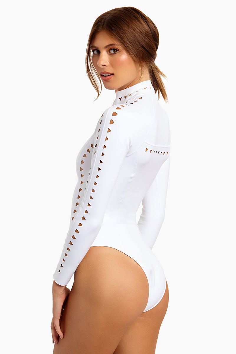 GIGI C Riley Cut Out Surfsuit Swimsuit - White One Piece   White  GIGI C Riley Cut Out Surfsuit Swimsuit - White. Features: Model is wearing size small Silky, thin scuba Flat lock seaming hugs your curves and creates a silky smooth interior Centerfront locking zipper Cutout design featuring lasercut technology eliminates rough edges and ensures ultimate comfort Medium cheek coverage 84% Polyester 16% Spandex