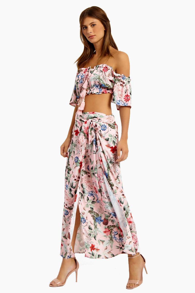 MINKPINK Aloha Maxi Skirt - Aloha Skirt | Aloha| MinkPink Aloha Maxi Skirt - Aloha Maxi Skirt  Draped front with tie detail Elasticized Waist  Front Slit Detail  Side View