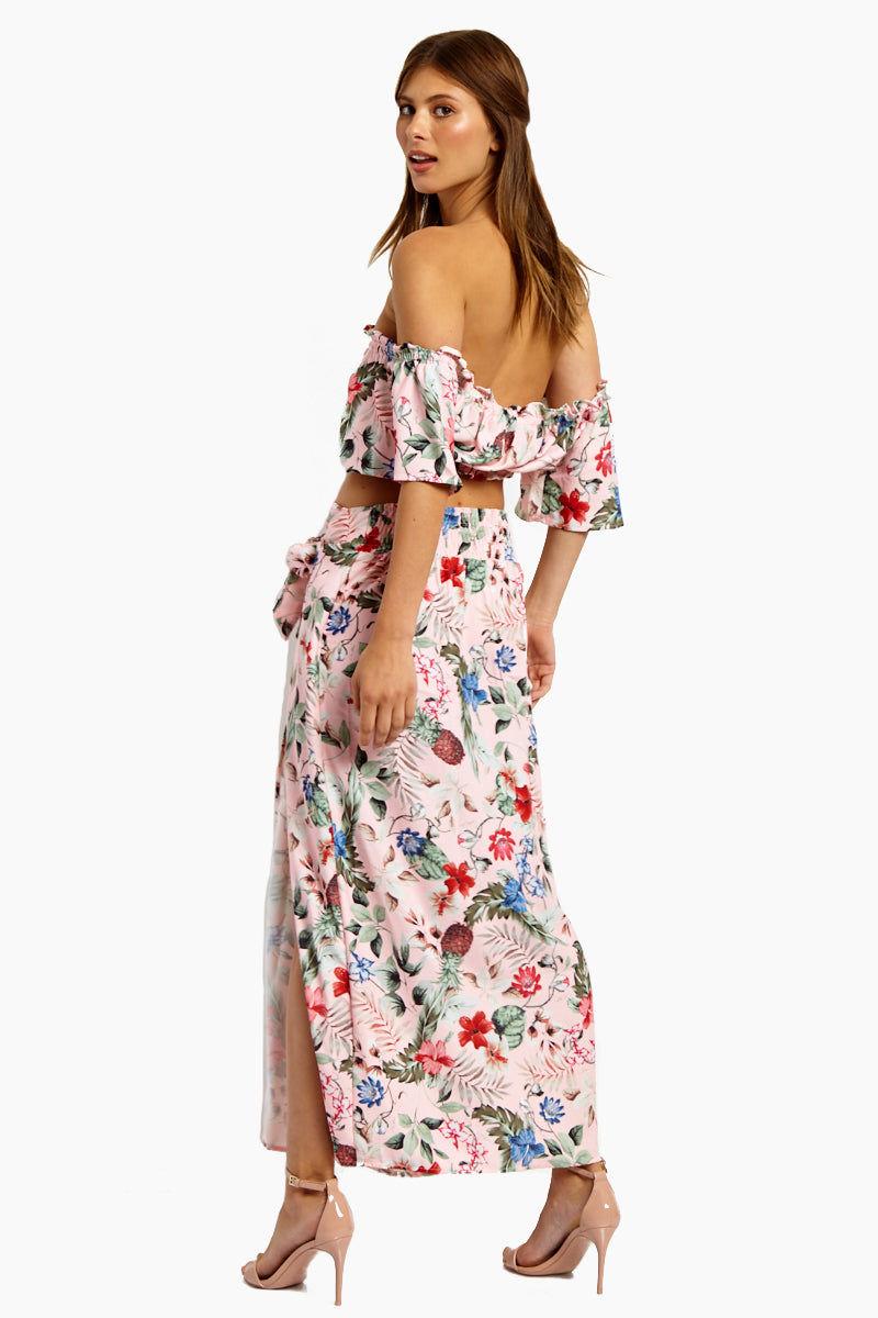 MINKPINK Aloha Maxi Skirt - Aloha Skirt | Aloha| MinkPink Aloha Maxi Skirt - Aloha Maxi Skirt  Draped front with tie detail Elasticized Waist  Front Slit Detail  Back View