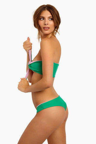 LEE + LANI Deco Hipster Reversible Bikini Bottom - Pink/Cool Green Bikini Bottom | Pink/Cool Green| Lee + Lani Deco Hipster Reversible Bikini Bottom - Pink/Cool Green Hipster Bottom Cheeky to Moderate Coverage Reversible Side View