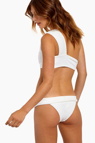 HAIGHT Maria One Shoulder Bikini Top - Off-White Bikini Top | Off-White |Haight Maria One Shoulder Bikini Top - Off-White Features:  One Shoulder style Full coverage bikini top Wide band and straps Pull over style Back View