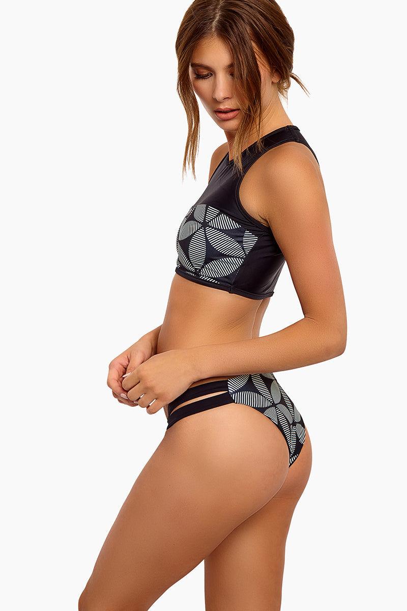 SEEA Chloe Low-Rise Double Side Strap Cut-Out Reversible Bikini Bottom - Mandala Print Bikini Bottom | Mandala| Seea Chloe Reversible Bikini Bottom - Features: Reversible bikini bottom Low rise with supportive thick side straps Cheeky bottom Side View