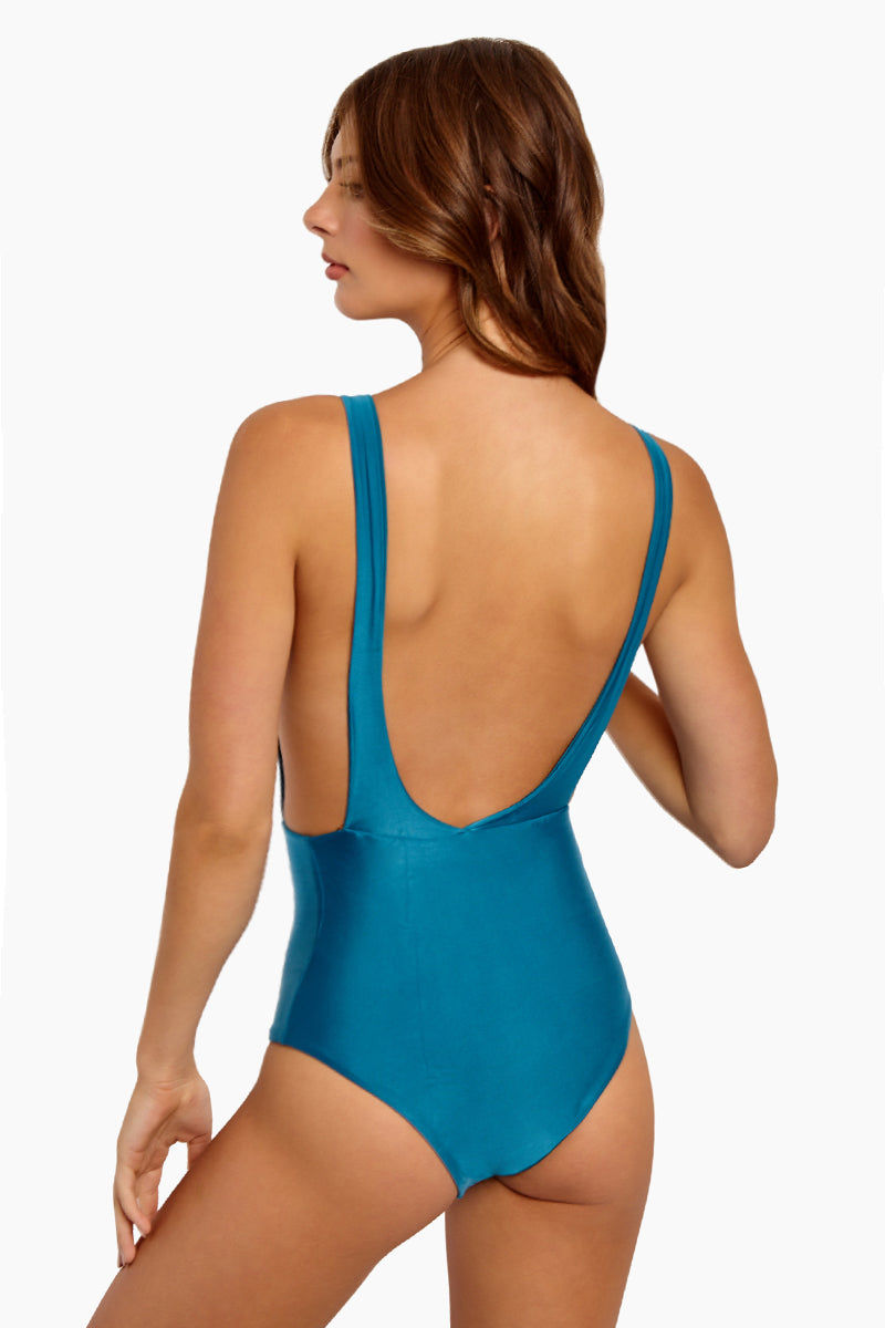 HAIGHT Side Slit Maillot One Piece Swimsuit - Blue Topaz One Piece | Blue Topaz| Haight Side Slit Maillot One Piece Swimsuit - Blue Topaz Features: Crew Neck One Piece Deep sides Detail Scoop Back Thick Back Straps Low Cut Leg Moderate Coverage  Back View