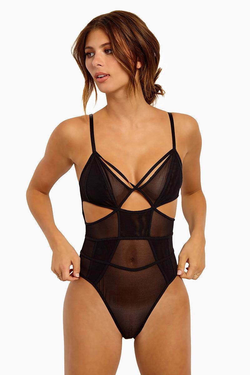 0b6f9f01fab Damn Girl Mesh Panel Bodysuit - Black