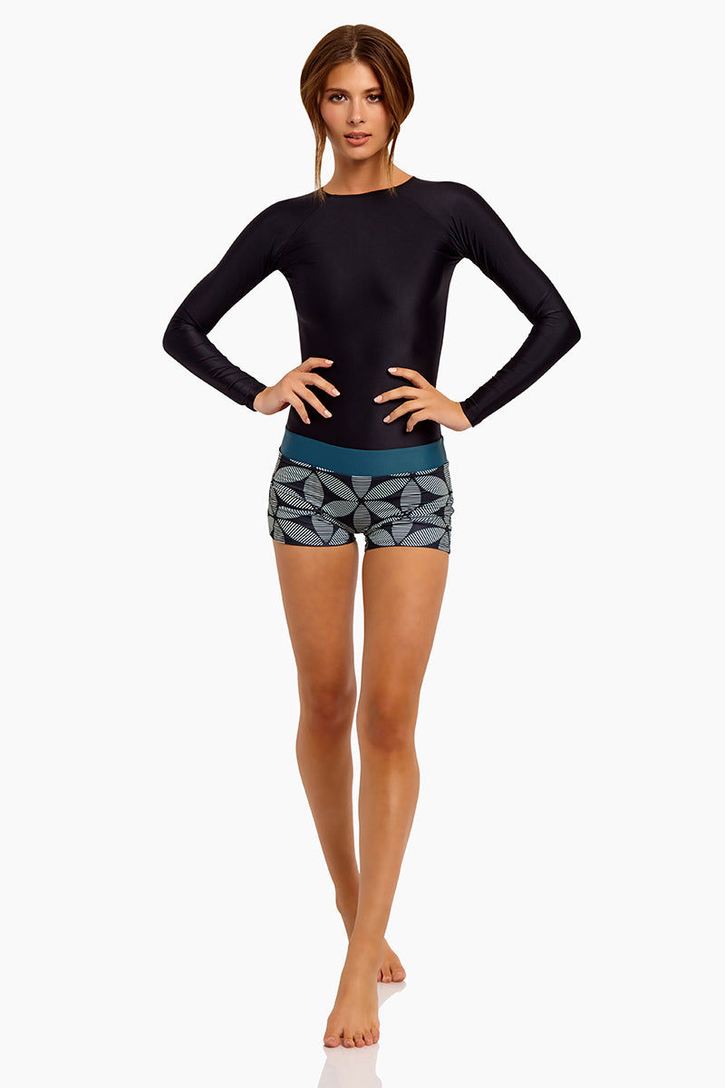 SEEA Swami's High Neck Long Sleeve Color Blocked Playsuit - Mandala Print One Piece | Mandala| Seea Swami'S Playsuit - eatures:  Long sleeved one piece Flattering dropped waistband attached minishort Front View