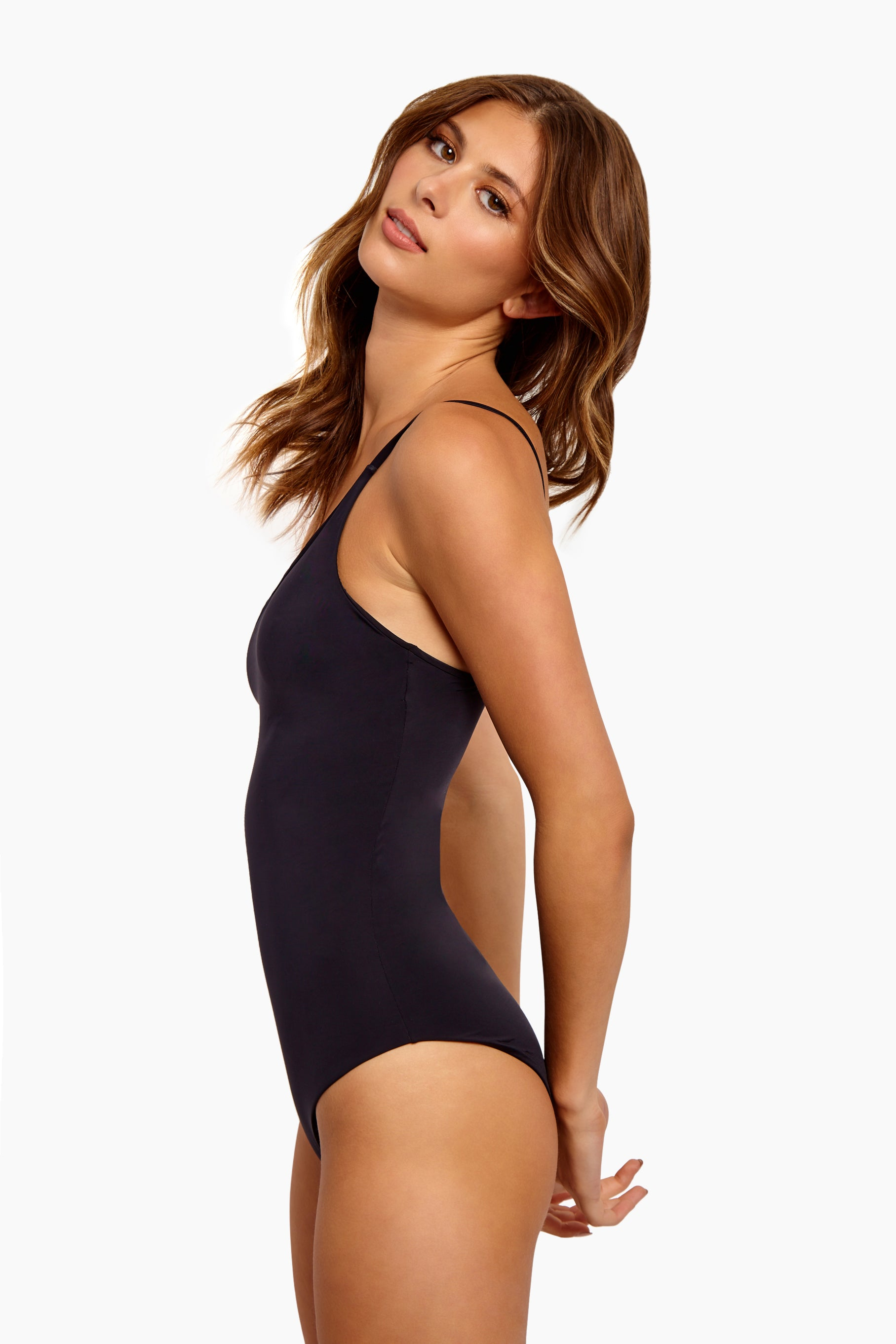 HAIGHT Diagonal One Shoulder One Piece Swimsuit - Black One Piece | Black| Haight Diagonal One Shoulder One Piece Swimsuit - Black Fits true to size One shoulder piece swimsuit in black with single thin strap Full coverage Lined Pull on Content:  100% lycra Hand wash Side View