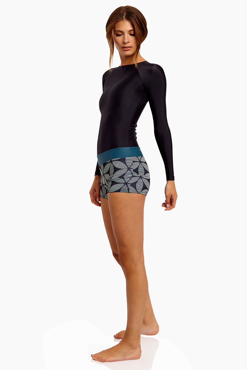 SEEA Swami's High Neck Long Sleeve Color Blocked Playsuit - Mandala Print One Piece | Mandala| Seea Swami'S Playsuit - eatures:  Long sleeved one piece Flattering dropped waistband attached minishort Side View