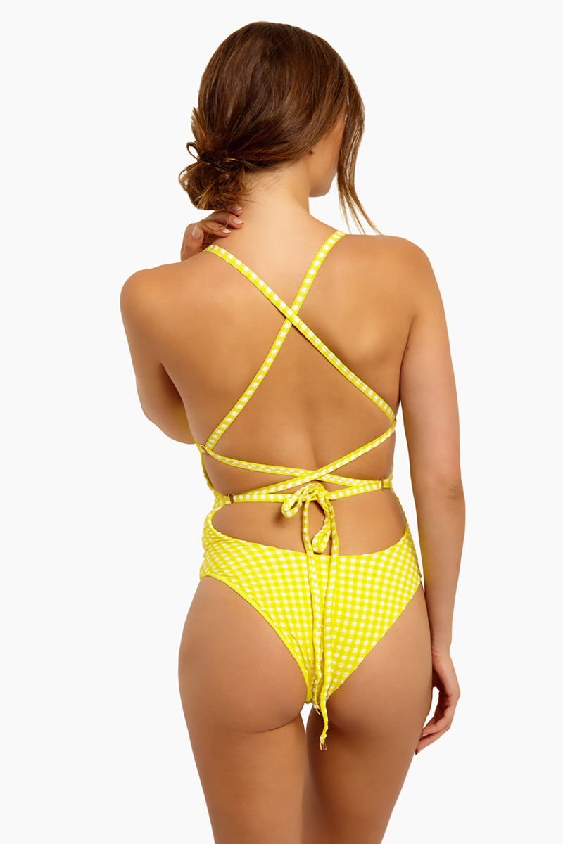 BLUE LIFE Zipped Up One Piece Swimsuit - Yellow Seersucker One Piece | Yellow Seersucker| Blue Life Zipped Up One Piece Swimsuit - Yellow Seersucker Front Zipper Closure  Criss Cross Back Straps  Lace Up Back Detail  High Cut Leg Cheeky Coverage  Gingham Print  Textured Fabric Made in USA Hand Wash Spandex Nylon Blend Back View