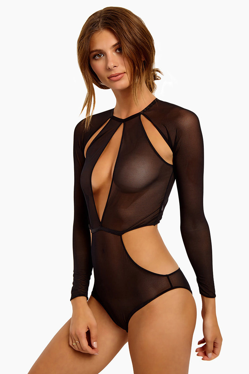 84c7a0898f SILENT ARROW Fierce Cut Out Mesh Bodysuit - Black