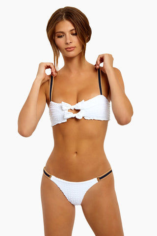 BLUE LIFE Cruise Bow Tie Bikini Top - White Seersucker Bikini Top | White Seersucker| Blue Life Cruise Bow Tie Bikini Top - White Seersucker Bow Tie Front Detail Contrasting Adjustable Shoulder Straps Ruffle Hem  Textured Spandex Fabrication Made in USA Hand Wash Spandex Nylon Blend Front View