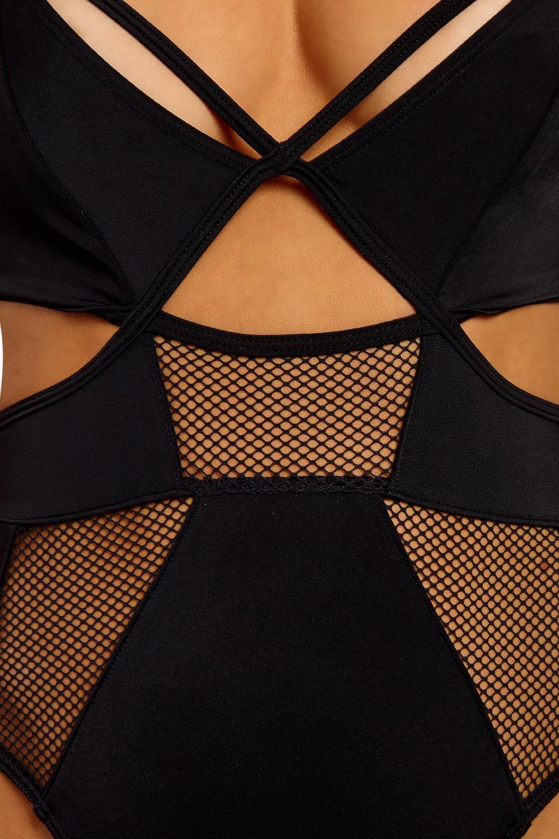 d82736a8045 Slay Girl Mesh Panel One Piece Swimsuit - Black