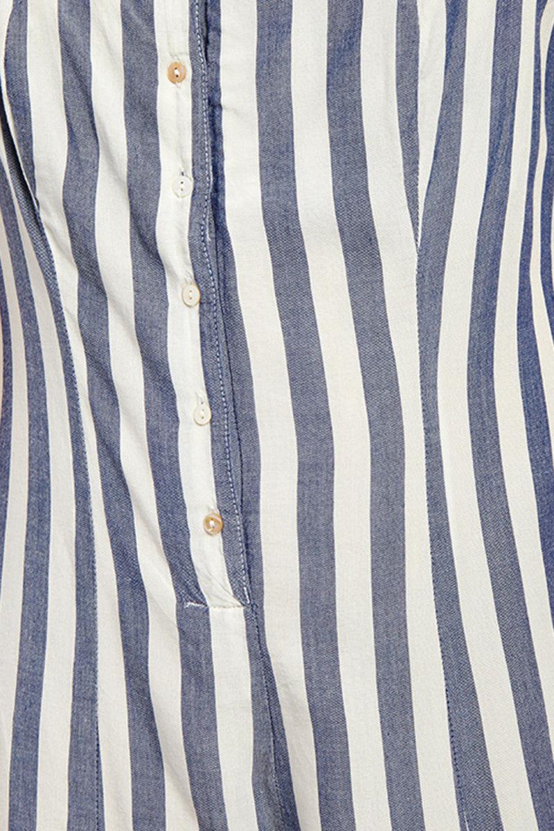 BEACH RIOT Zoey Shoulder Tie Romper - Blue & White Stripe Print Romper | Blue & White Stripe Print| Beach Riot Zoey Shoulder Tie Romper - Blue & White Stripe Print Straight Neckline  Front Button Detail Shoulder Ties Straps  Scoop Back  Blue & White Vertical Stripe Print Front View
