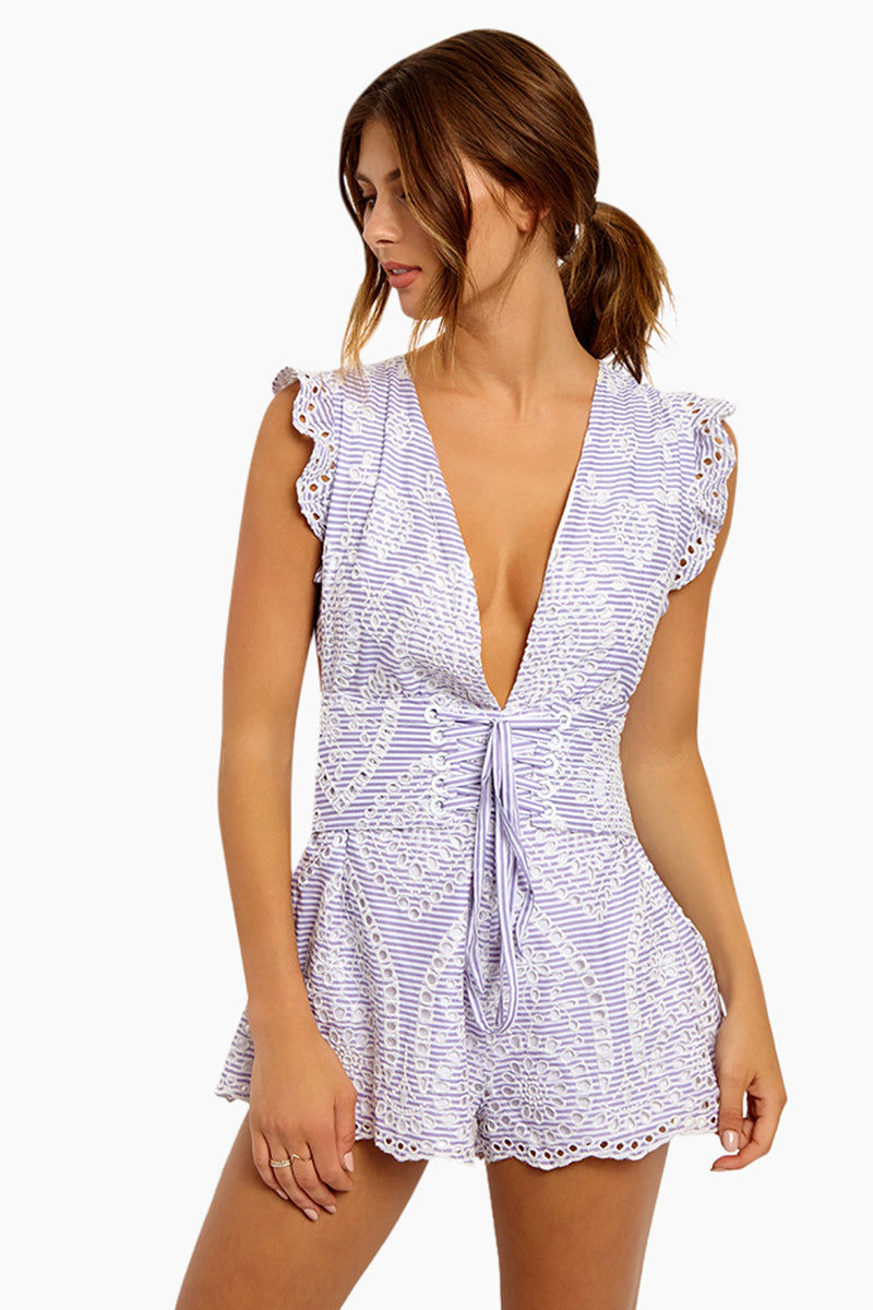 BEACH RIOT Nixie Plunging V Neck Romper - Eyelet Romper   Eyelet  Beach Riot Nixie Plunging V Neck Romper - Eyelet Sweet Style Romper Plunging V Neckline  Corset Style  Low Cut Underarms Open Cut Out Back  Allover Eyelet Overlay  Front View