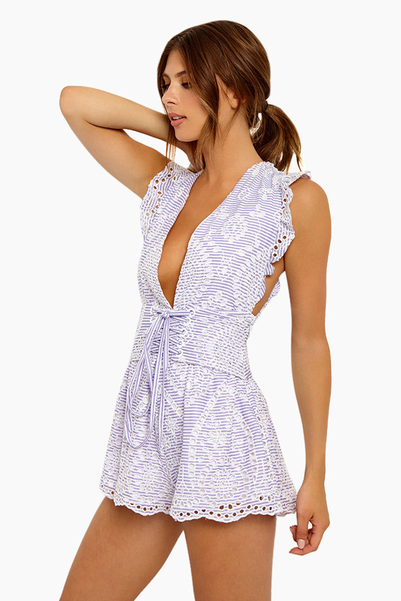 BEACH RIOT Nixie Plunging V Neck Romper - Eyelet Romper   Eyelet  Beach Riot Nixie Plunging V Neck Romper - Eyelet Sweet Style Romper Plunging V Neckline  Corset Style  Low Cut Underarms Open Cut Out Back  Allover Eyelet Overlay  Side View