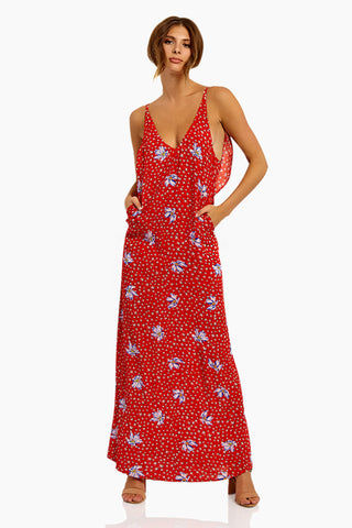 BEACH RIOT Mila Maxi Dress - Red/Blue Floral Dress | Red/Blue Floral| Beach Riot Mila Maxi Dress - Red/Blue Floral Maxi Dress Deep V Neckline  Adjustable Spaghetti Straps  Low Back Back Ruffle Detail 100% Viscose Hand wash cold; lay flat to dry Front View