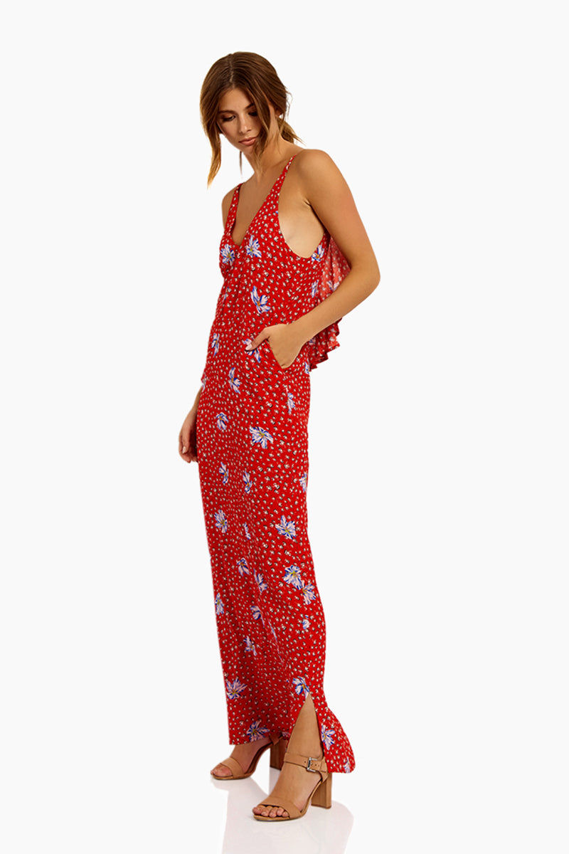 BEACH RIOT Mila Maxi Dress - Red/Blue Floral Dress | Red/Blue Floral| Beach Riot Mila Maxi Dress - Red/Blue Floral Maxi Dress Deep V Neckline  Adjustable Spaghetti Straps  Low Back Back Ruffle Detail 100% Viscose Hand wash cold; lay flat to dry Side View